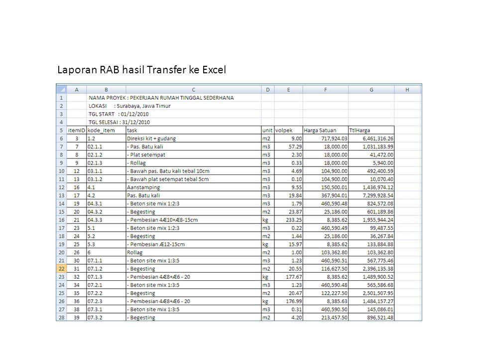 Laporan RAB hasil Transfer ke Excel