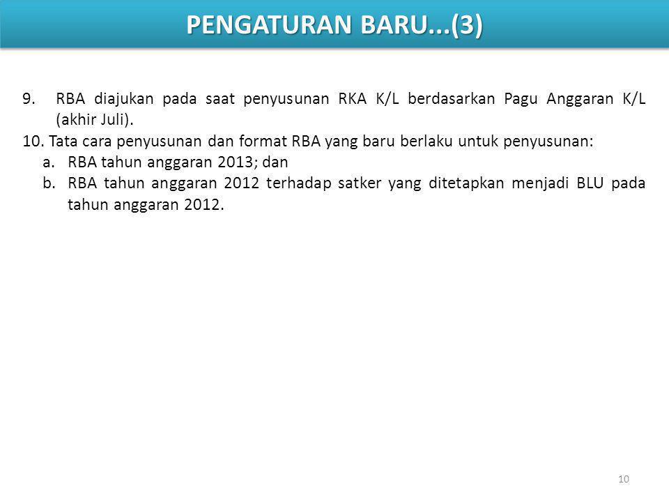 PENGATURAN BARU...(3) RBA diajukan pada saat penyusunan RKA K/L berdasarkan Pagu Anggaran K/L (akhir Juli).