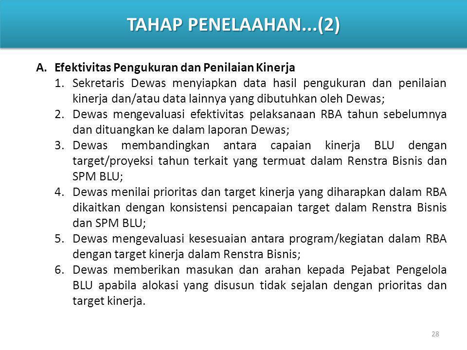 TAHAP PENELAAHAN...(2) Efektivitas Pengukuran dan Penilaian Kinerja