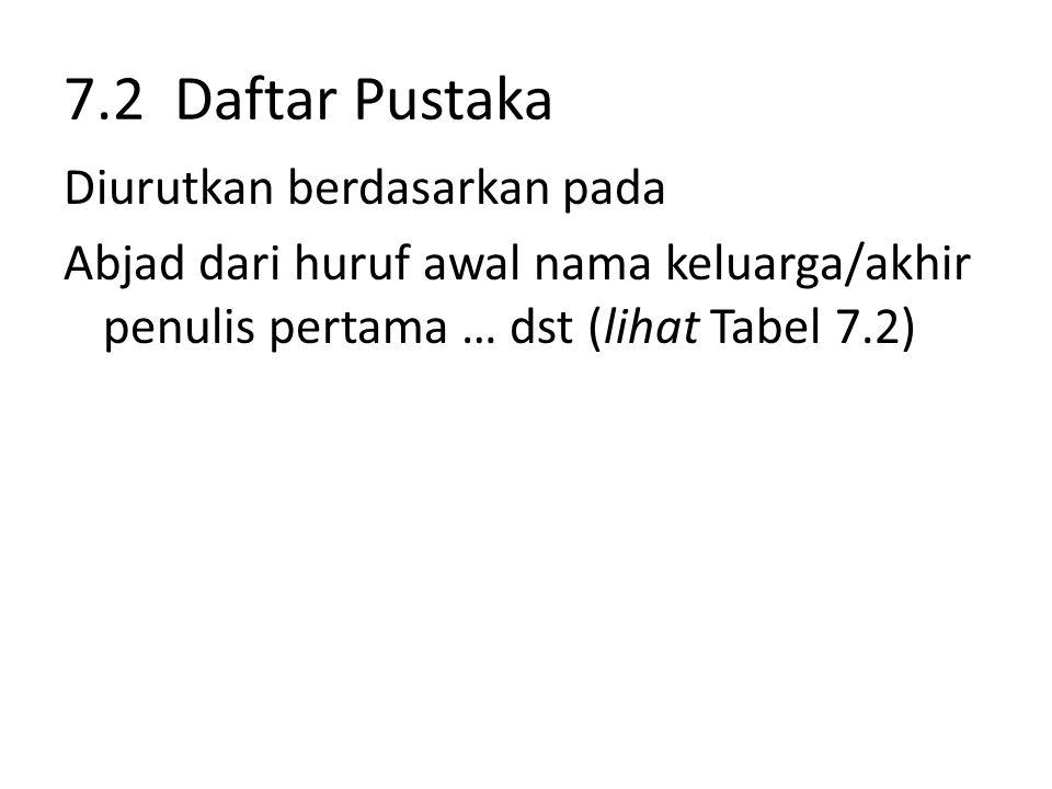 7.2 Daftar Pustaka Diurutkan berdasarkan pada Abjad dari huruf awal nama keluarga/akhir penulis pertama … dst (lihat Tabel 7.2)