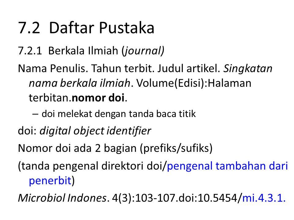 7.2 Daftar Pustaka 7.2.1 Berkala Ilmiah (journal)