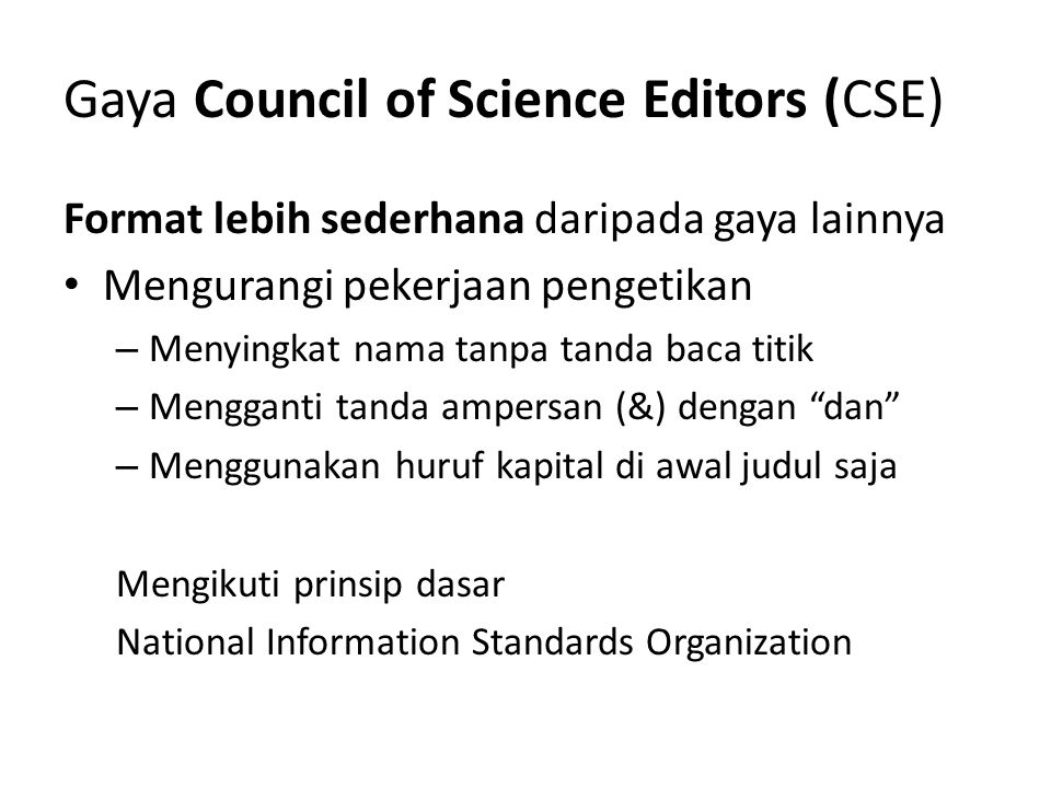 Gaya Council of Science Editors (CSE)