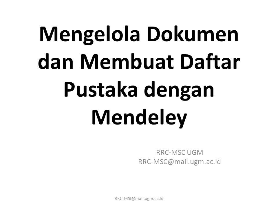 Mengelola Dokumen dan Membuat Daftar Pustaka dengan Mendeley