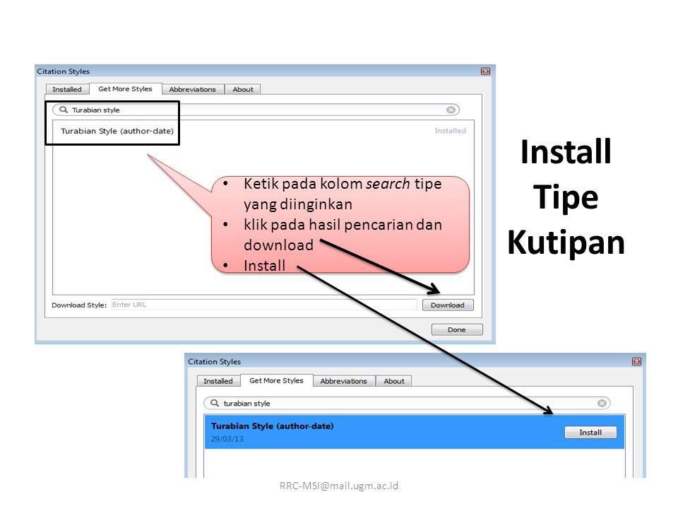 Install Tipe Kutipan Ketik pada kolom search tipe yang diinginkan
