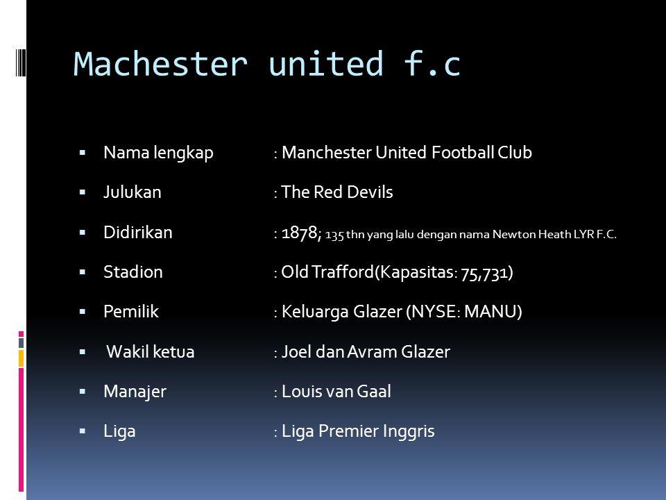 Machester united f.c Nama lengkap : Manchester United Football Club