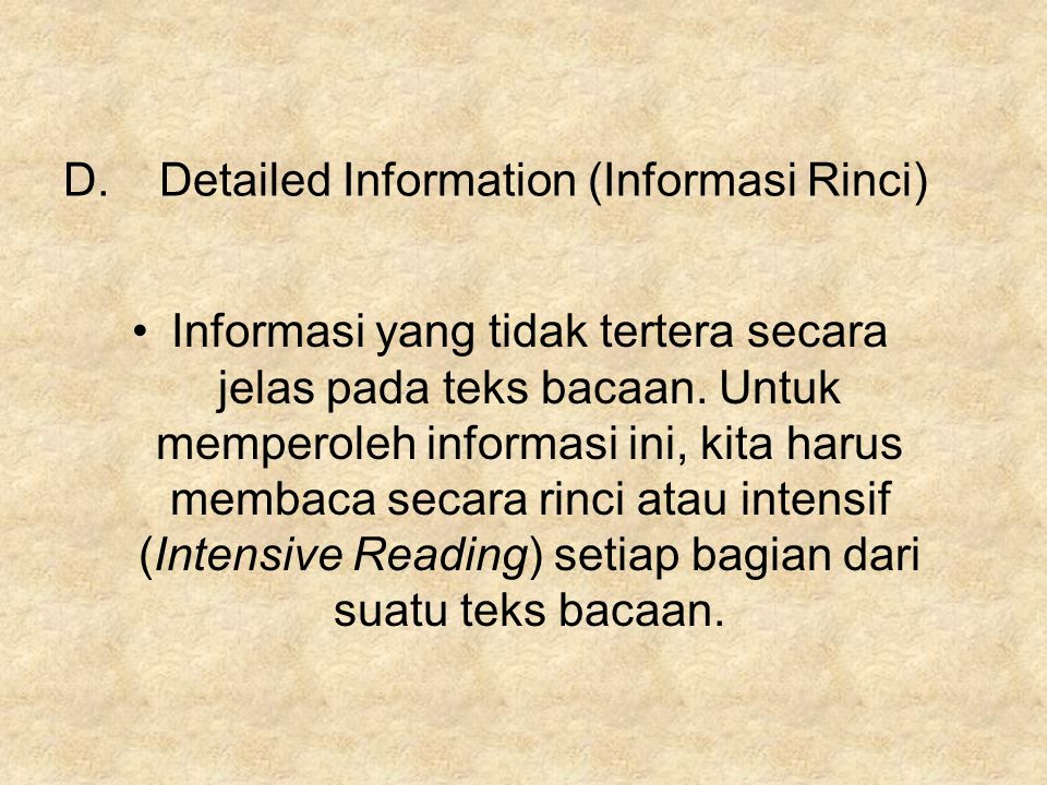 Detailed Information (Informasi Rinci)