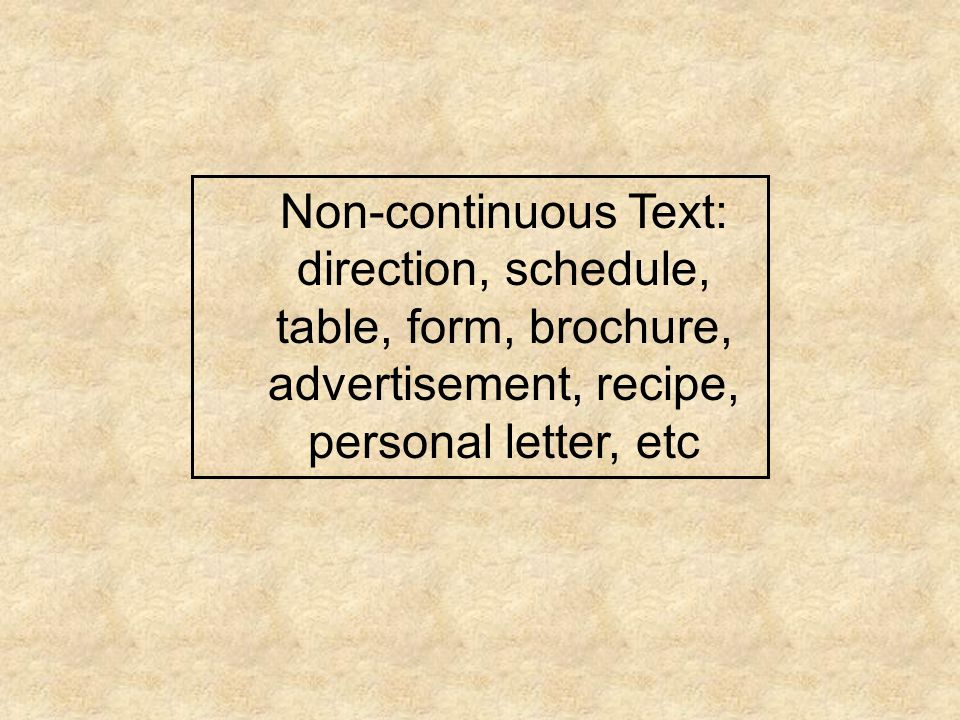 Non-continuous Text: direction, schedule, table, form, brochure, advertisement, recipe, personal letter, etc