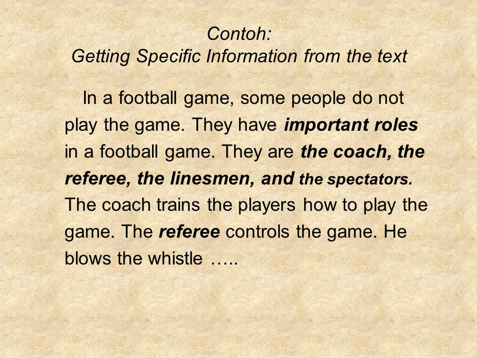 Contoh: Getting Specific Information from the text