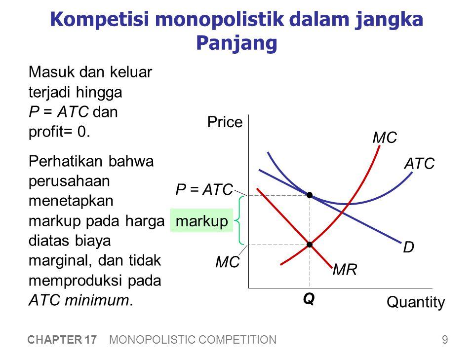 Kenapa kompetisi monopolitik lebi tidak efisien daripada perfect competition 1. Excess capacity.