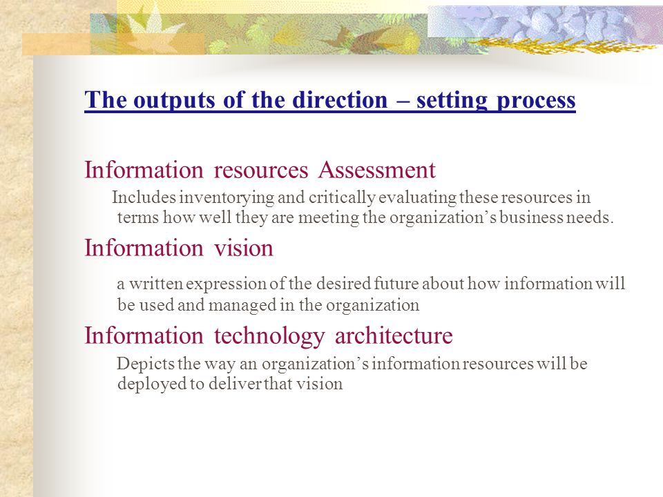 The outputs of the direction – setting process
