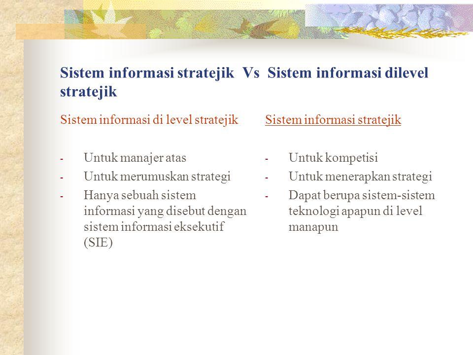 Sistem informasi stratejik Vs Sistem informasi dilevel stratejik