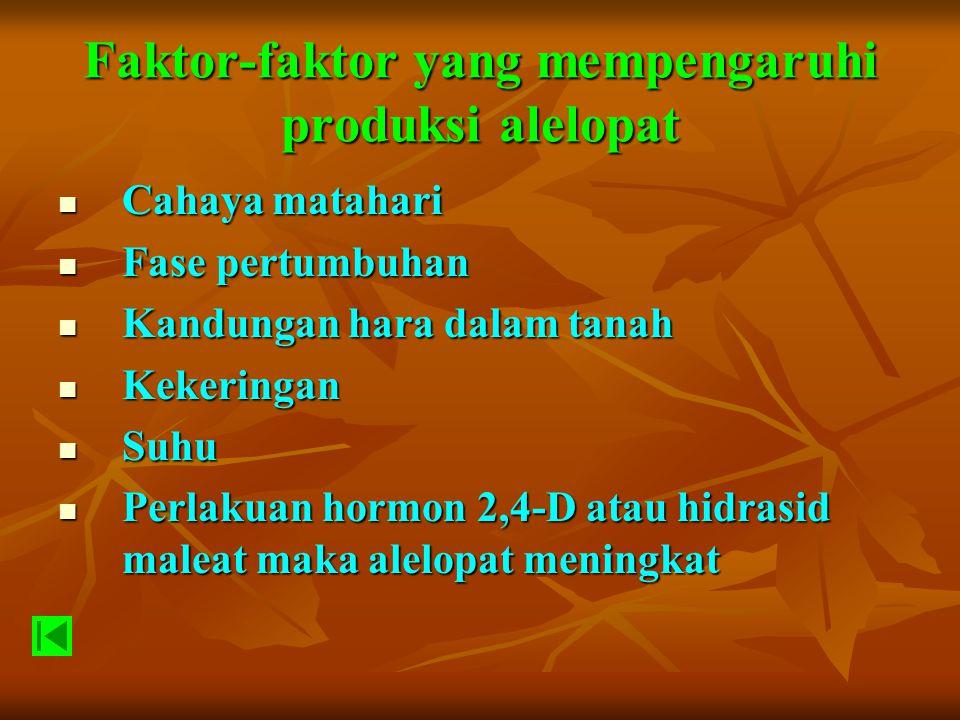 Faktor-faktor yang mempengaruhi produksi alelopat