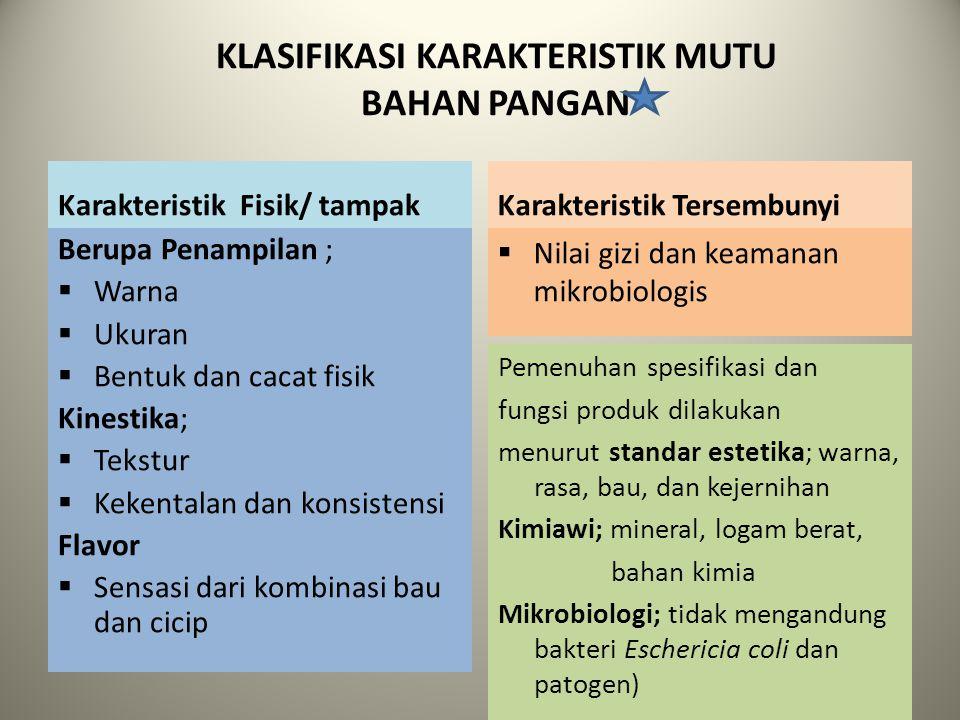 KLASIFIKASI KARAKTERISTIK MUTU BAHAN PANGAN