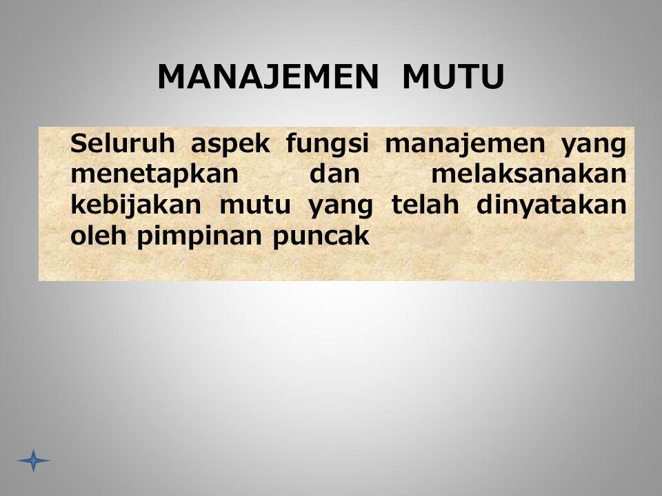 MANAJEMEN MUTU Seluruh aspek fungsi manajemen yang menetapkan dan melaksanakan kebijakan mutu yang telah dinyatakan oleh pimpinan puncak.