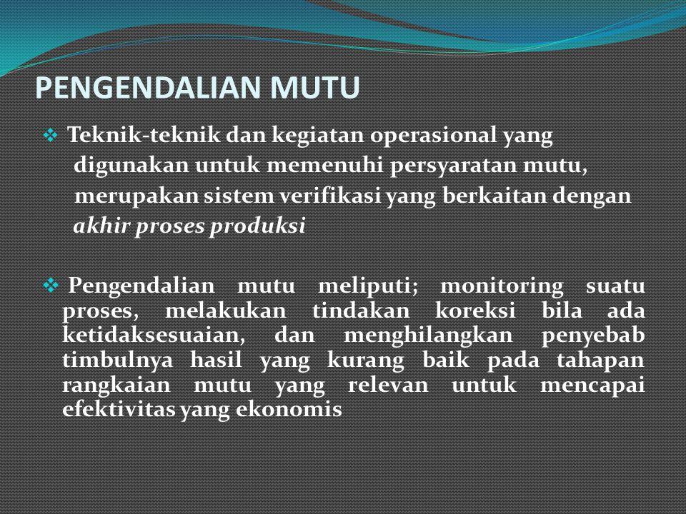PENGENDALIAN MUTU digunakan untuk memenuhi persyaratan mutu,