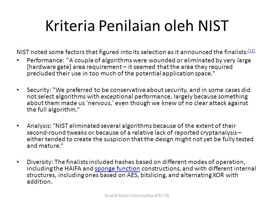 Kriteria Penilaian oleh NIST