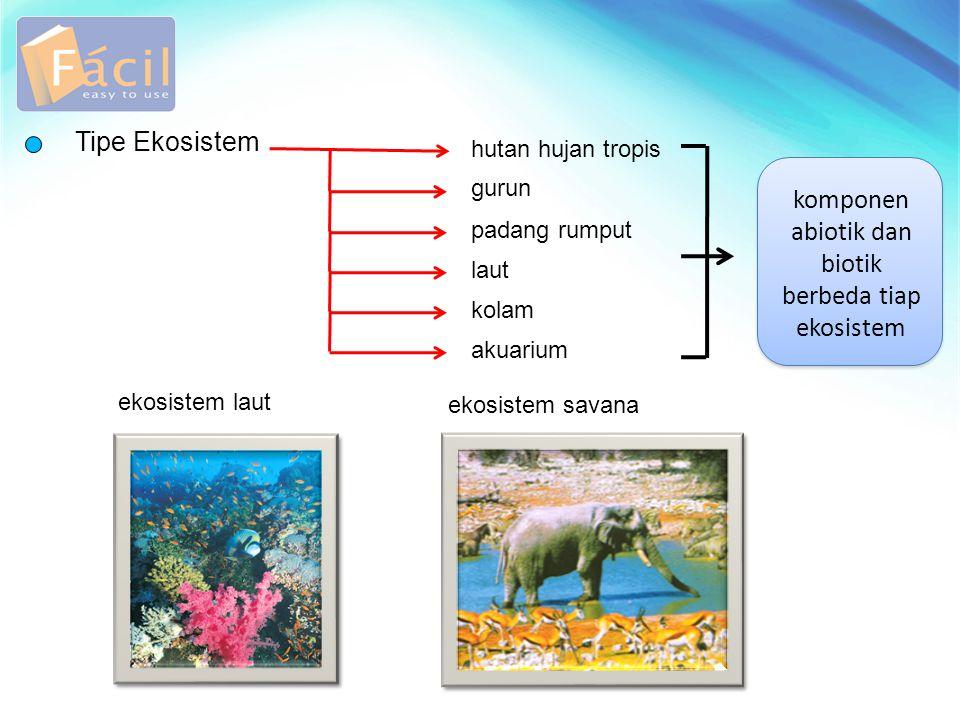 komponen abiotik dan biotik berbeda tiap ekosistem