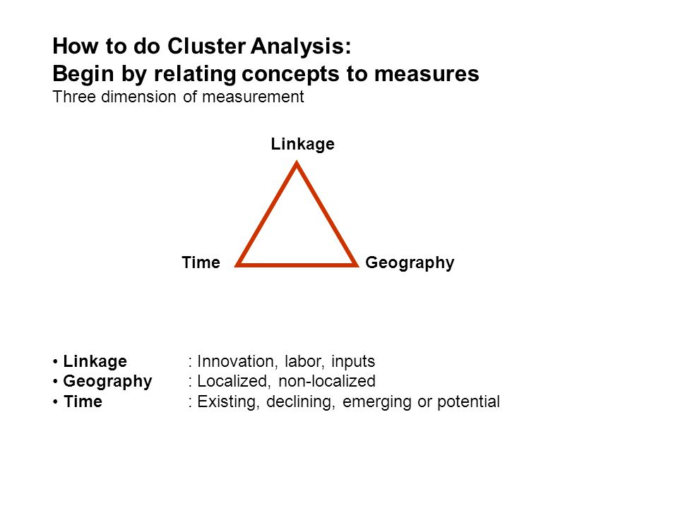 How to do Cluster Analysis: Begin by relating concepts to measures