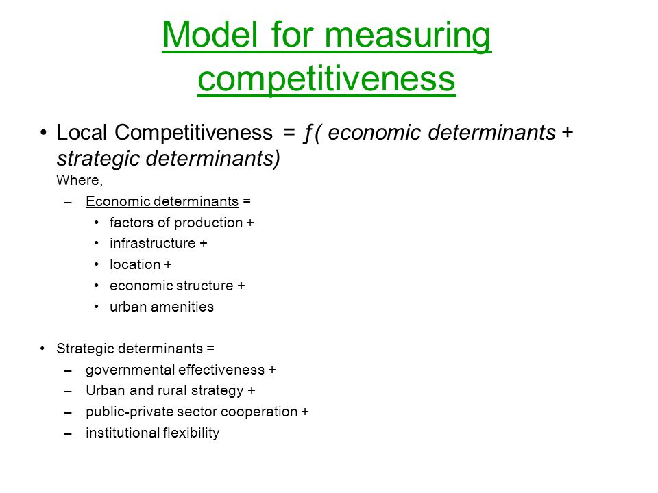 Model for measuring competitiveness