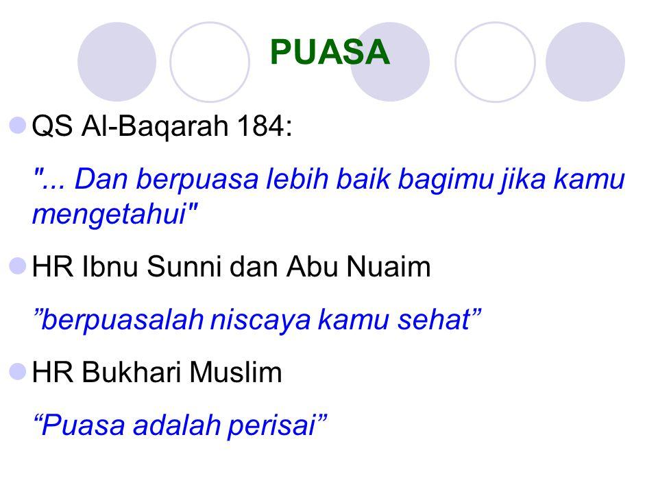 PUASA QS Al-Baqarah 184: ... Dan berpuasa lebih baik bagimu jika kamu mengetahui HR Ibnu Sunni dan Abu Nuaim.