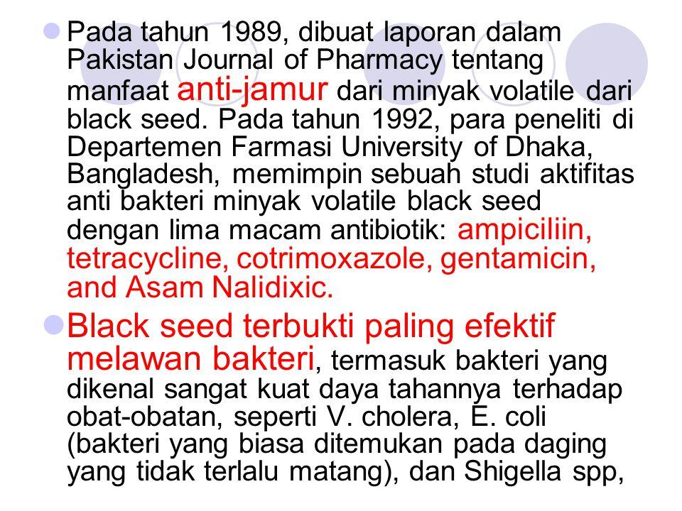 Pada tahun 1989, dibuat laporan dalam Pakistan Journal of Pharmacy tentang manfaat anti-jamur dari minyak volatile dari black seed. Pada tahun 1992, para peneliti di Departemen Farmasi University of Dhaka, Bangladesh, memimpin sebuah studi aktifitas anti bakteri minyak volatile black seed dengan lima macam antibiotik: ampiciliin, tetracycline, cotrimoxazole, gentamicin, and Asam Nalidixic.