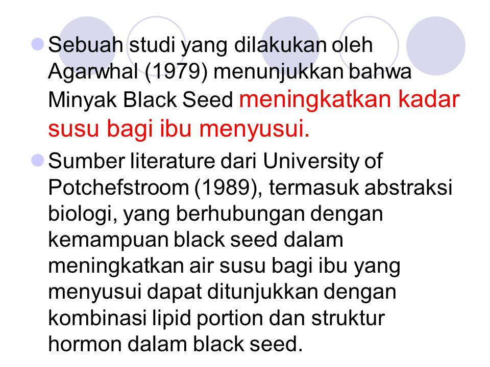 Sebuah studi yang dilakukan oleh Agarwhal (1979) menunjukkan bahwa Minyak Black Seed meningkatkan kadar susu bagi ibu menyusui.