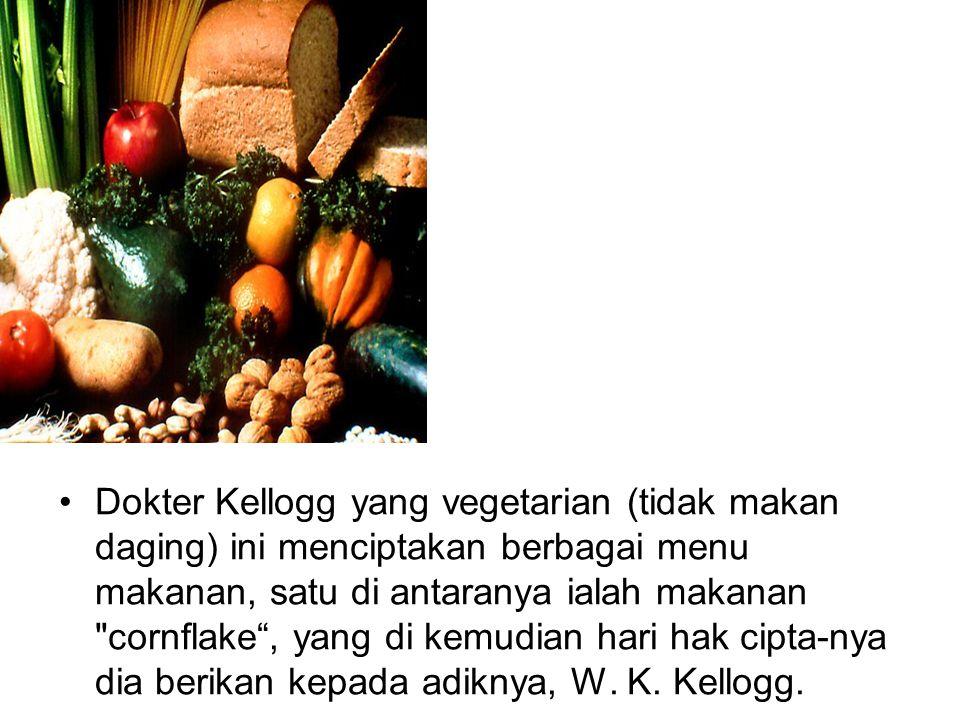 Dokter Kellogg yang vegetarian (tidak makan daging) ini menciptakan berbagai menu makanan, satu di antaranya ialah makanan cornflake , yang di kemudian hari hak cipta-nya dia berikan kepada adiknya, W.