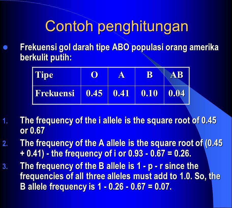 Contoh penghitungan Frekuensi gol darah tipe ABO populasi orang amerika berkulit putih: