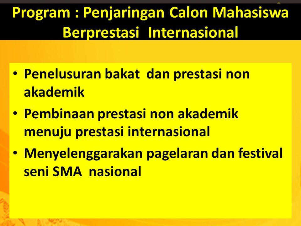 Program : Penjaringan Calon Mahasiswa Berprestasi Internasional