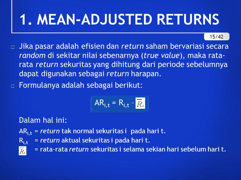 1. MEAN-ADJUSTED RETURNS