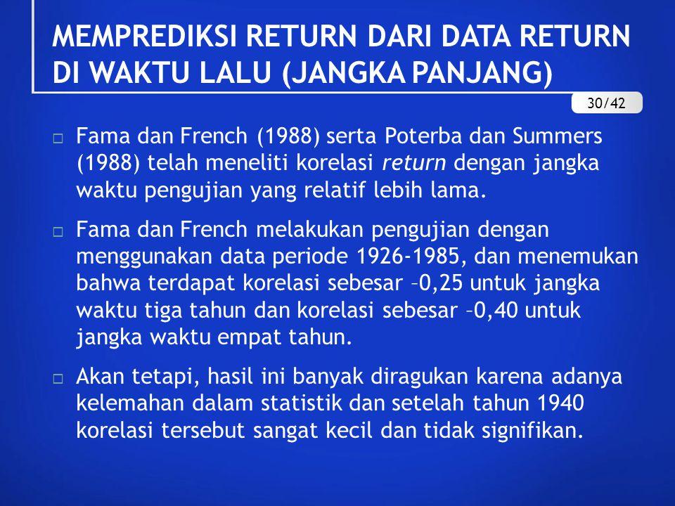 MEMPREDIKSI RETURN DARI DATA RETURN DI WAKTU LALU (JANGKA PANJANG)