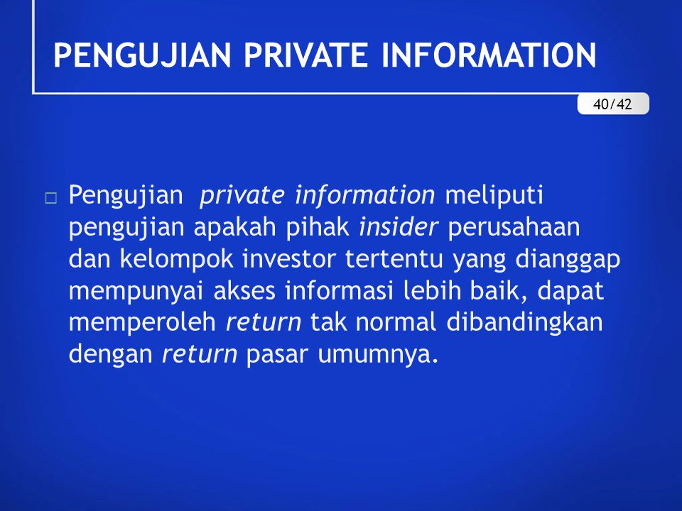 PENGUJIAN PRIVATE INFORMATION
