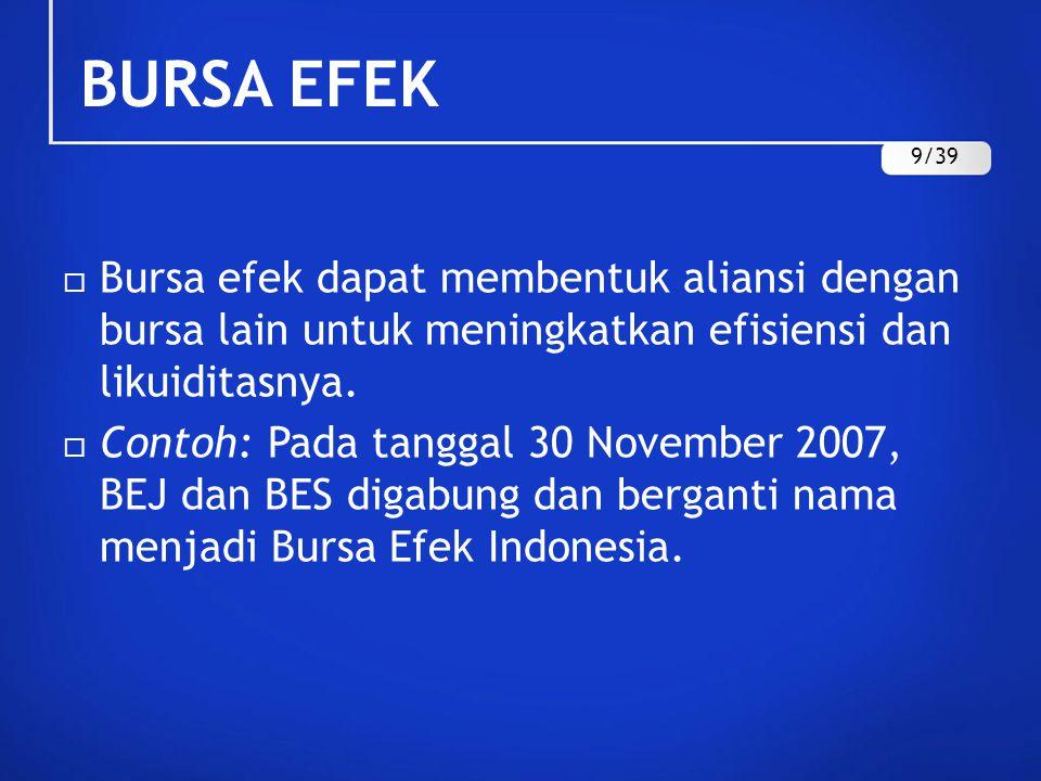 BURSA EFEK 9/39. Bursa efek dapat membentuk aliansi dengan bursa lain untuk meningkatkan efisiensi dan likuiditasnya.
