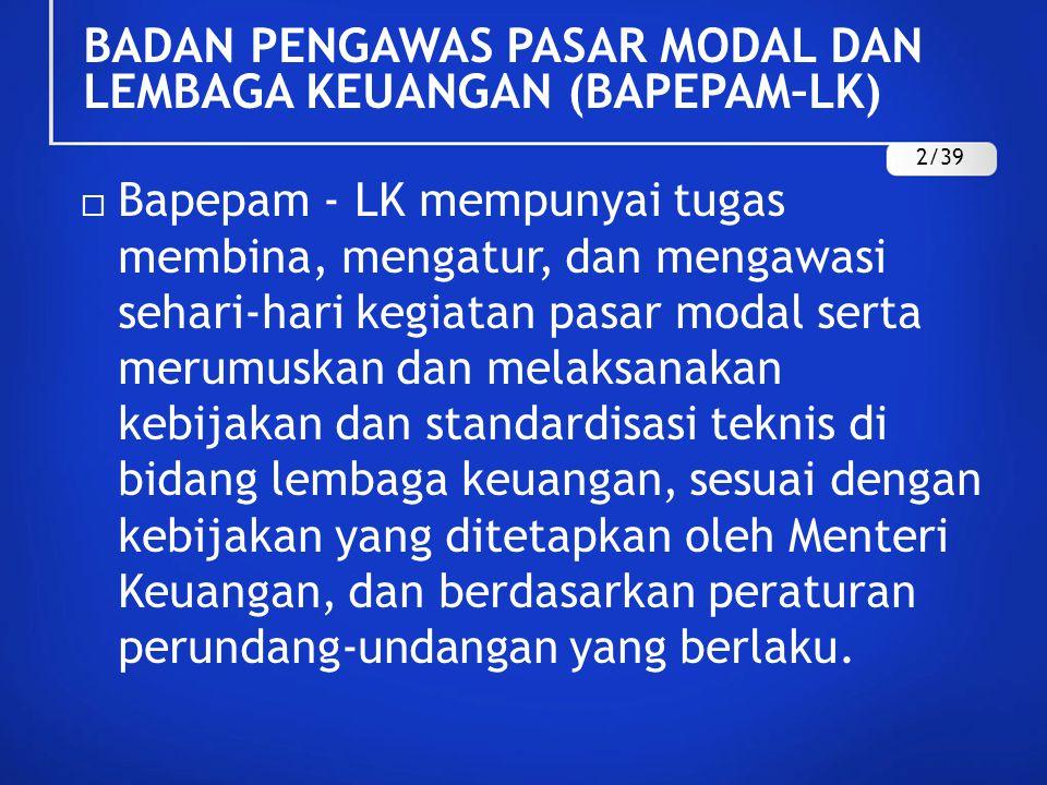 BADAN PENGAWAS PASAR MODAL DAN LEMBAGA KEUANGAN (BAPEPAM–LK)