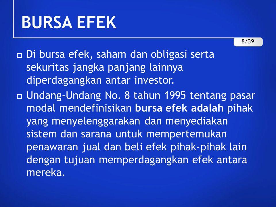 BURSA EFEK 8/39. Di bursa efek, saham dan obligasi serta sekuritas jangka panjang lainnya diperdagangkan antar investor.