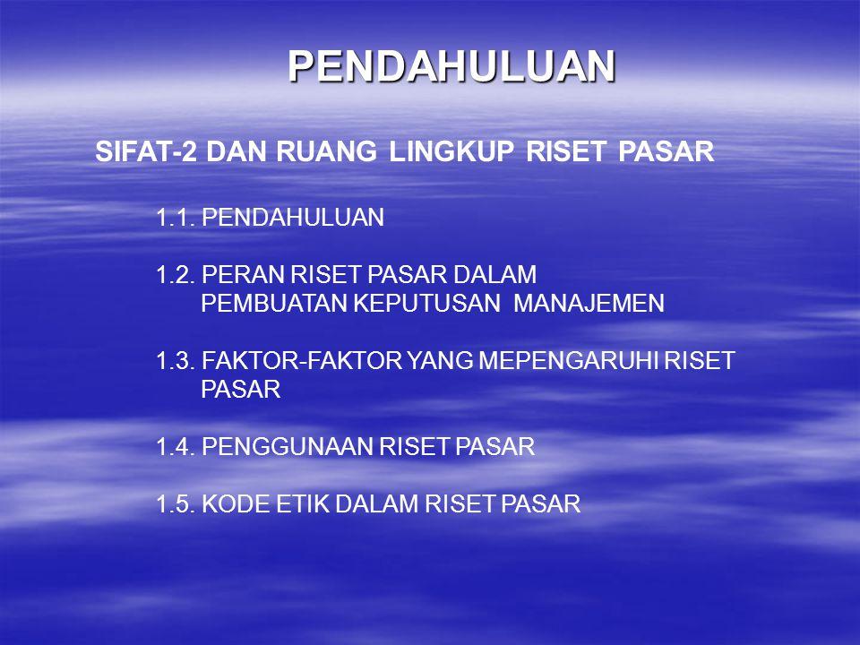 PENDAHULUAN SIFAT-2 DAN RUANG LINGKUP RISET PASAR 1.1. PENDAHULUAN