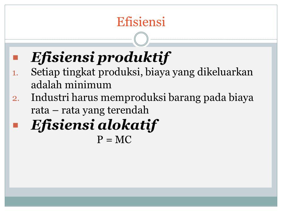 Efisiensi produktif Efisiensi alokatif Efisiensi