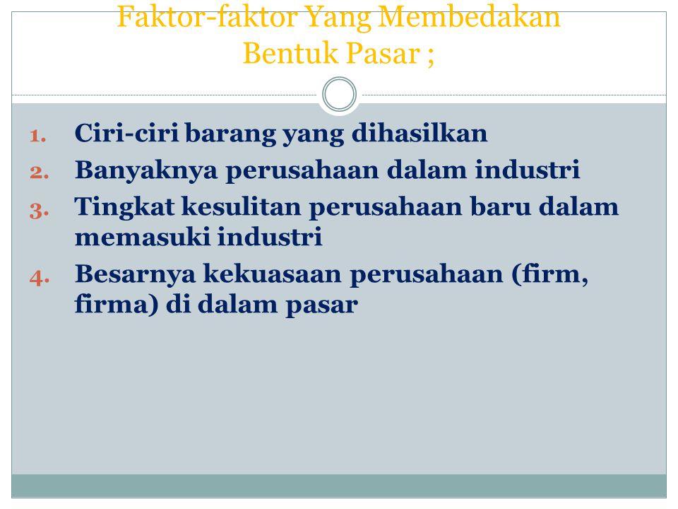 Faktor-faktor Yang Membedakan Bentuk Pasar ;