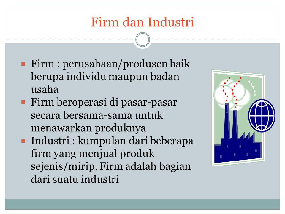 Firm dan Industri Firm : perusahaan/produsen baik berupa individu maupun badan usaha.