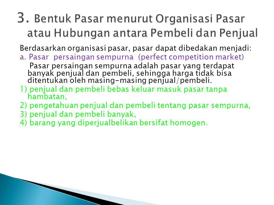 3. Bentuk Pasar menurut Organisasi Pasar atau Hubungan antara Pembeli dan Penjual