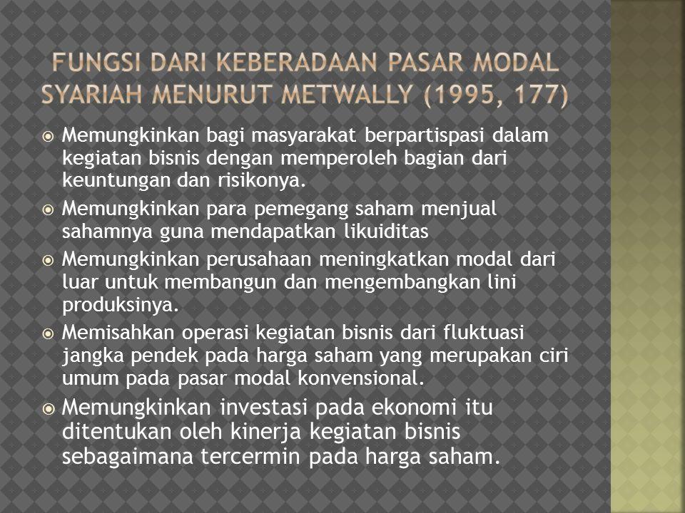 fungsi dari keberadaan pasar modal syariah Menurut metwally (1995, 177)