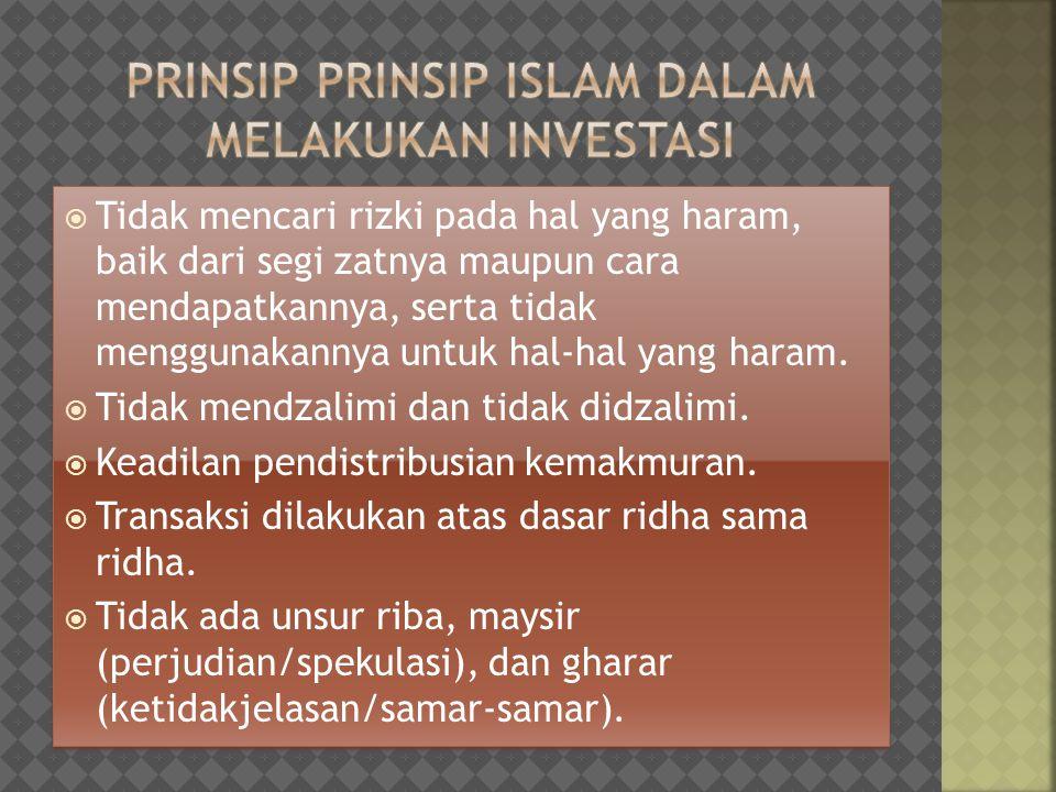 Prinsip prinsip islam dalam melakukan investasi