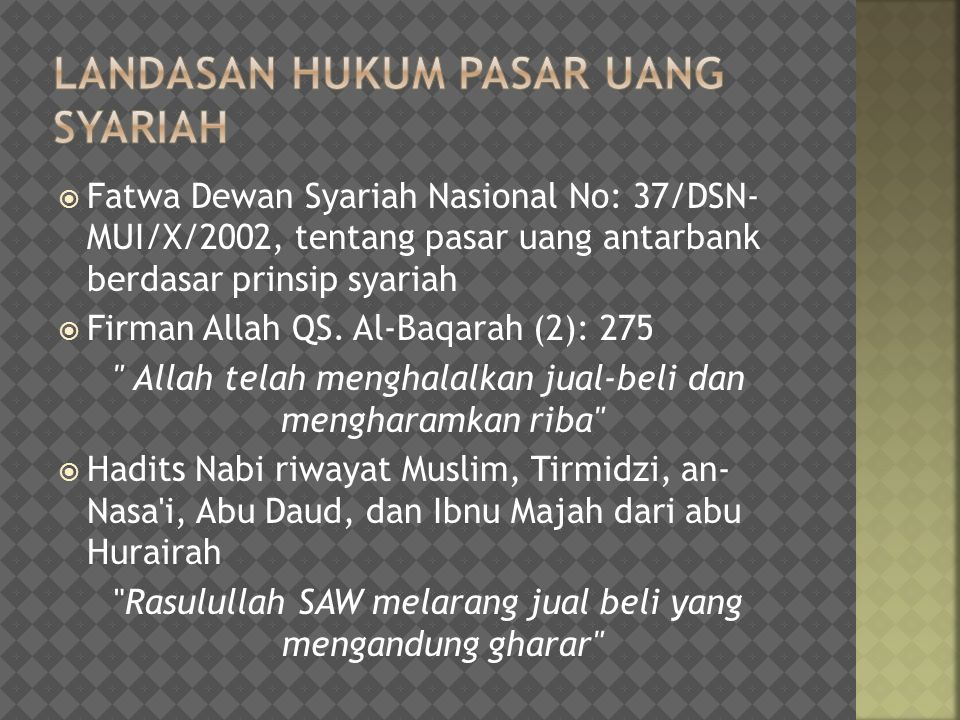 Landasan Hukum Pasar Uang syariah