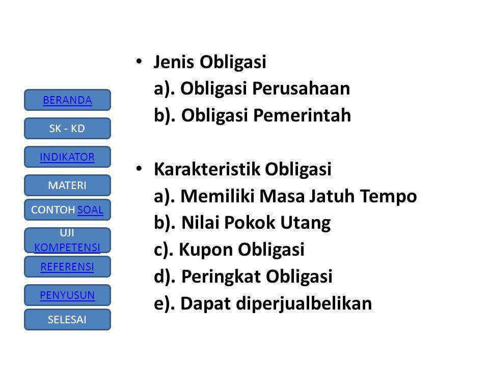 Jenis Obligasi a). Obligasi Perusahaan. b). Obligasi Pemerintah. Karakteristik Obligasi. a). Memiliki Masa Jatuh Tempo.