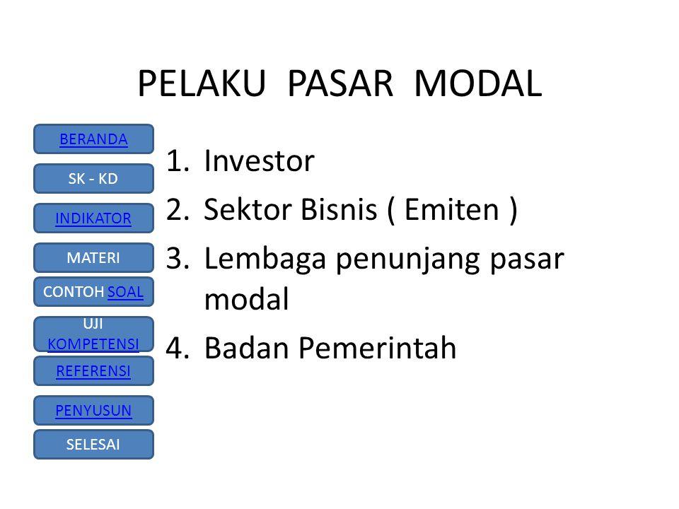 PELAKU PASAR MODAL Investor Sektor Bisnis ( Emiten )