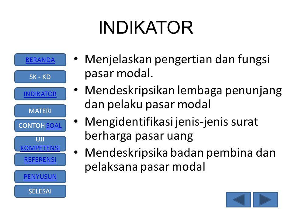 INDIKATOR Menjelaskan pengertian dan fungsi pasar modal.