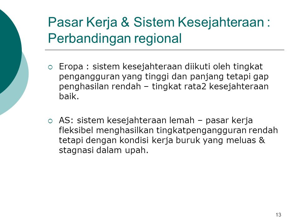 Pasar Kerja & Sistem Kesejahteraan : Perbandingan regional