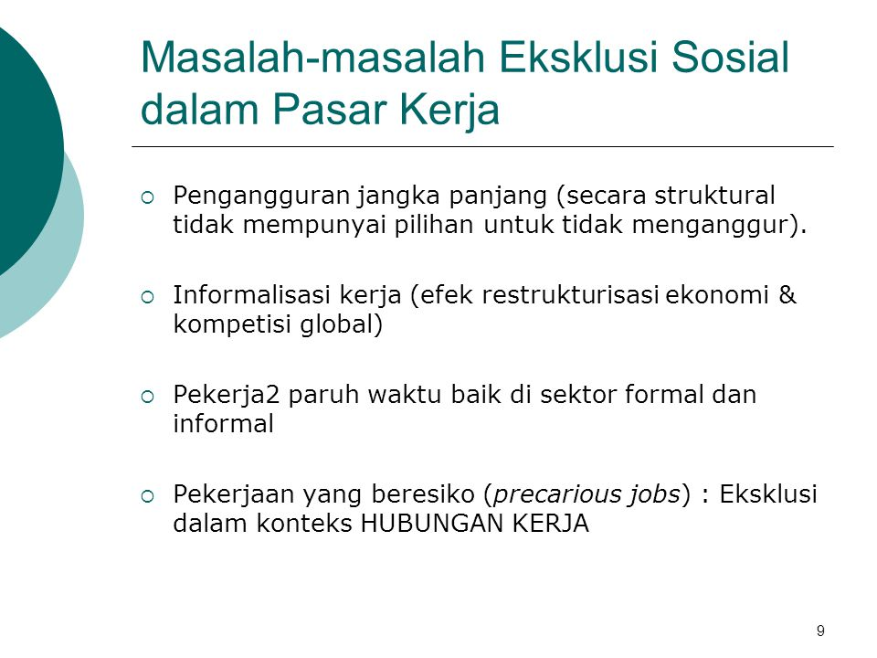 Masalah-masalah Eksklusi Sosial dalam Pasar Kerja