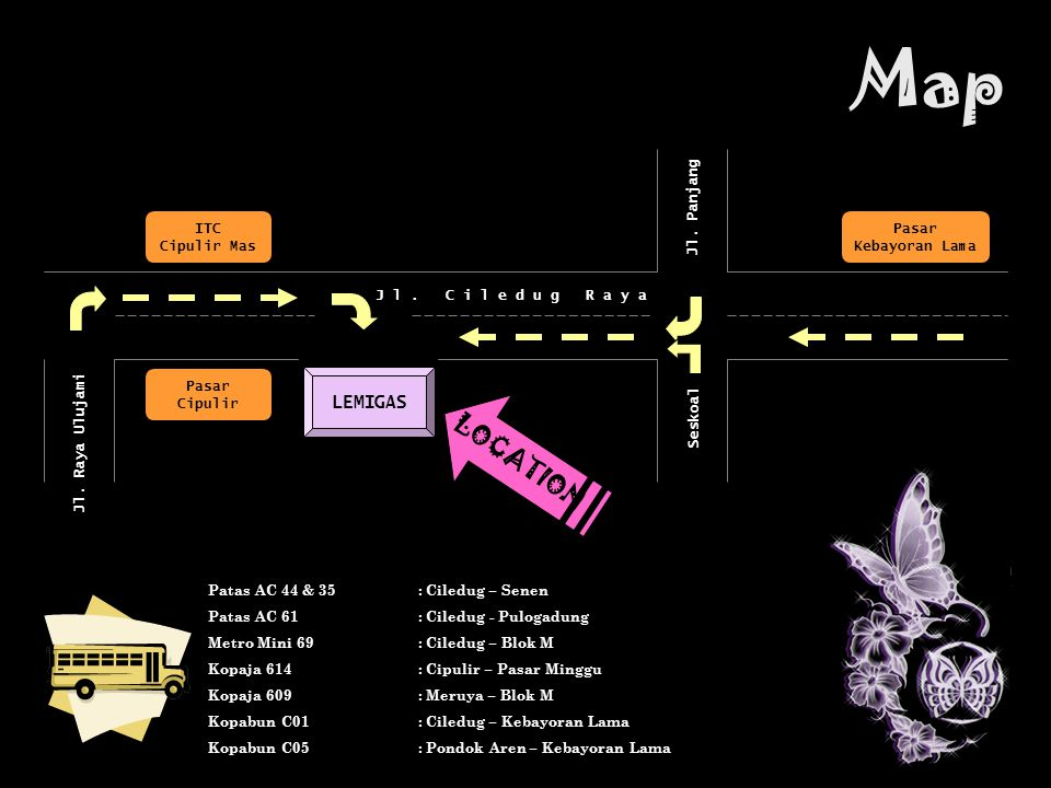 Map LOCATION LEMIGAS ITC Cipulir Mas Jl. Panjang Seskoal