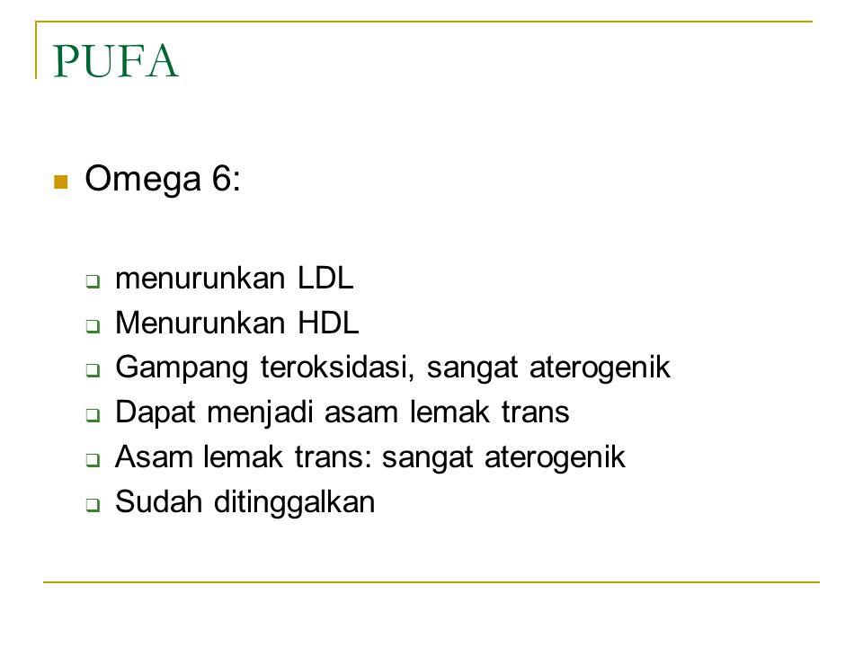 PUFA Omega 6: menurunkan LDL Menurunkan HDL